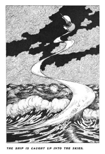 """A fantastic voyage: a ship has left the sea below and is sailing among the clouds, in a nocturnal sky. The caption below reads """"The ship is caught up into the skies"""". Illustration from Lucian's wonderland: being a translation of the 'Vera historia' by Lucian, by St J. Basil Wynne Willson; with numerous illustrations by A. Payne Garnett (Edinburgh and London: William Blackwood and Sons, 1899), p. 47. Copy via InternetArchive."""
